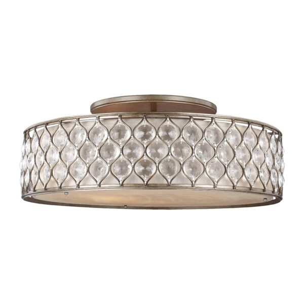 Feiss Lucia Large Flush Crystal Drum Low Ceiling 6 Light Burnished Silver