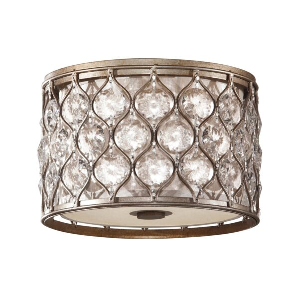 Feiss Lucia Crystal 2 Lamp Burnished Silver Drum Flush Low Ceiling Light