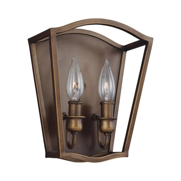 Feiss Yarmouth Classic 2 Lamp Wall Light Open Lantern Aged Brass