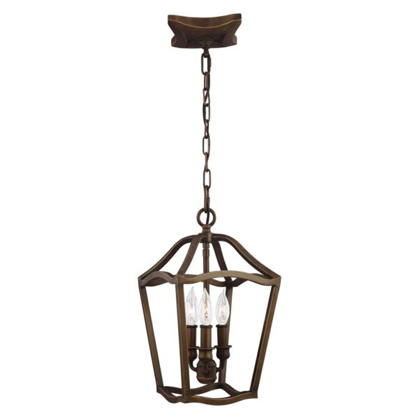 Feiss Yarmouth Small 3 Light Hanging Open Lantern Pendant Aged Brass