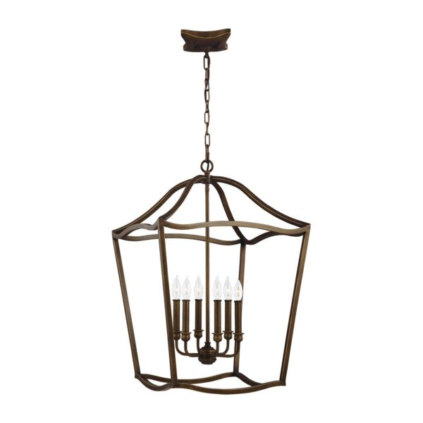 Feiss Yarmouth Large 6 Light Hanging Open Lantern Pendant Aged Brass