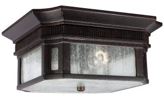 Feiss Federal 2 Light Outdoor Flush Porch Light Gilded Bronze With Seeded Glass
