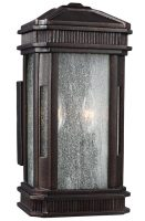 Feiss Federal 2 Light Outdoor Wall Lantern Gilded Bronze With Seeded Glass