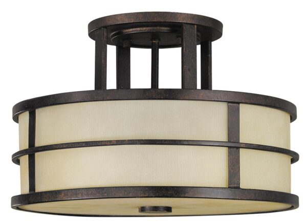 Feiss Fusion 3 Light Semi Flush Ceiling Light Grecian Bronze