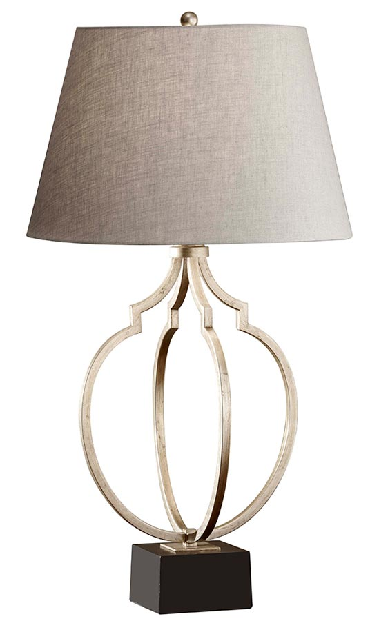 Feiss Grandeur Table Lamp In Silver Leaf With Classic Grey Linen Shade