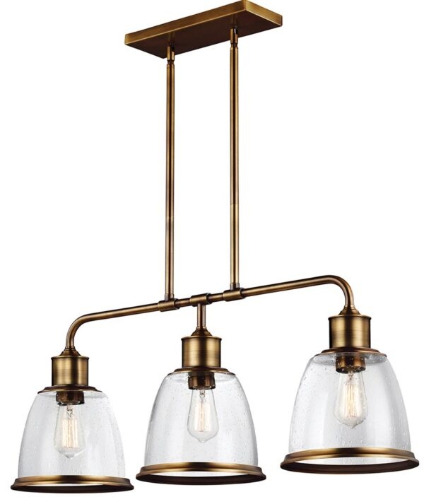 Feiss Hobson 3 Light Island Chandelier Aged Brass With Seeded Glass