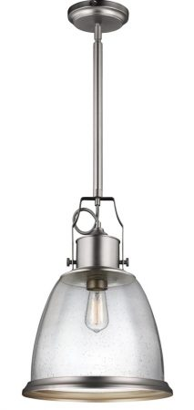 Feiss Hobson 1 Light Large Pendant Satin Nickel With Seeded Glass