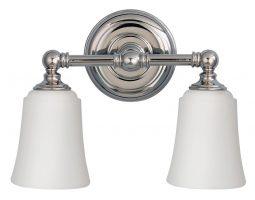 Feiss Huguenot Lake Chrome 2 Light Bathroom Over Mirror Light Opal Glass Shades