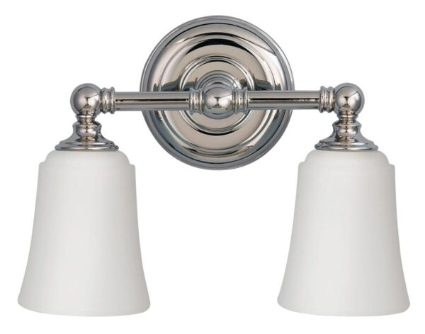 Feiss Huguenot Lake Chrome 2 Light Bathroom Over Mirror Light Opal Glass Shades