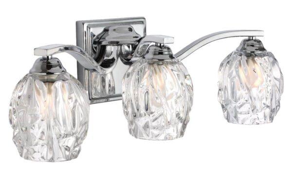 Feiss Kalli Chrome 3 Light LED Bathroom Over Mirror Light Crystal Shades
