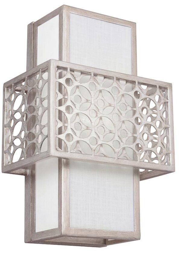 Feiss Kenney 1 Light Mini Pendant Sunrise Silver White Linen Shade