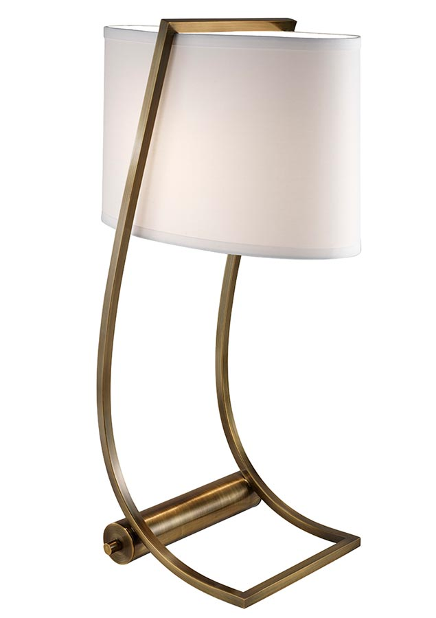 Feiss Lex Bali Brass Table Lamp With White Shade Usb