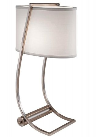 Feiss Lex Brushed Steel Table Lamp With White Shade USB Charging Port