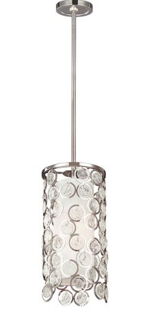 Feiss Lexi 1 Light Mini Ceiling Pendant Crystal Polished Nickel Silk Shade