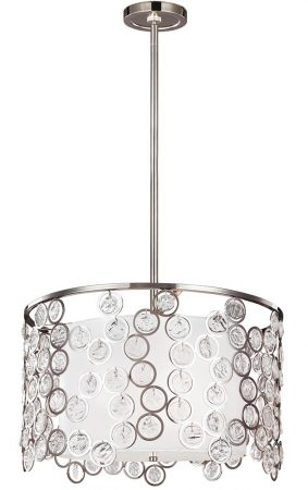 Feiss Lexi 3 Light Ceiling Pendant Crystal Polished Nickel Silk Shade