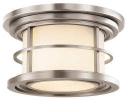 Feiss Lighthouse 2 Light Flush Outdoor Porch Light Brushed Steel IP44