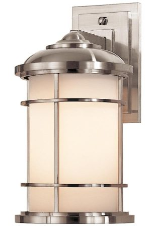 Feiss Lighthouse 1 Light Medium Outdoor Wall Lantern Brushed Steel IP44