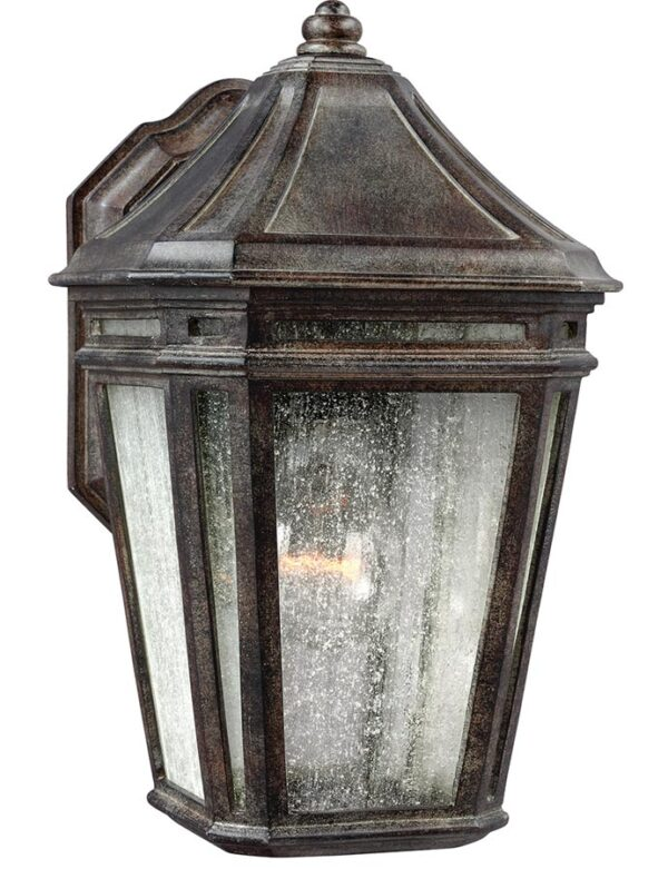 Feiss Londontowne Outdoor Wall Lantern Weathered Chestnut Seeded Glass
