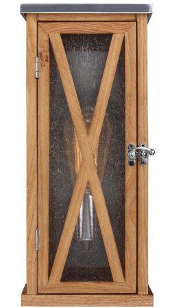 Feiss Lumiere 1 Light Small Outdoor Wall Box Lantern Natural Oak Wood