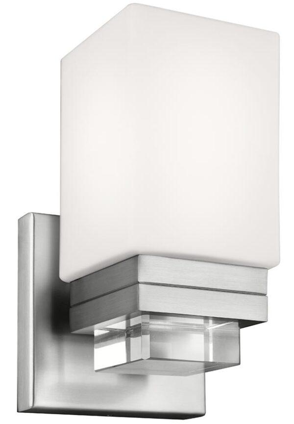 Feiss Maddison Bathroom Wall Light Satin Nickel Opal Glass Shade