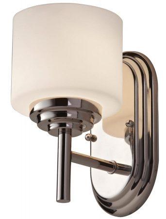 Feiss Malibu 1 Light Bathroom Wall Light Polished Chrome Opal Glass IP44