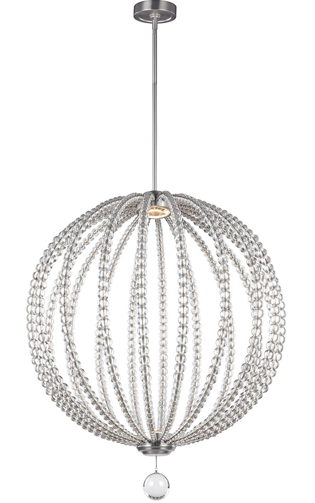 feiss oberlin large satin nickel led orb pendant light