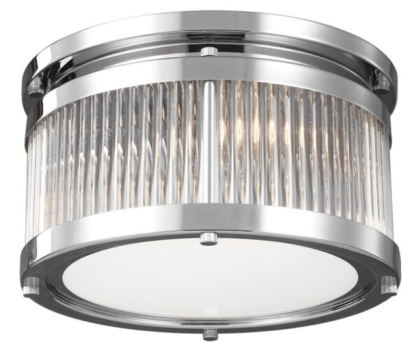 Feiss Paulson Flush Mount 3 Light Bathroom Ceiling Light Polished Chrome