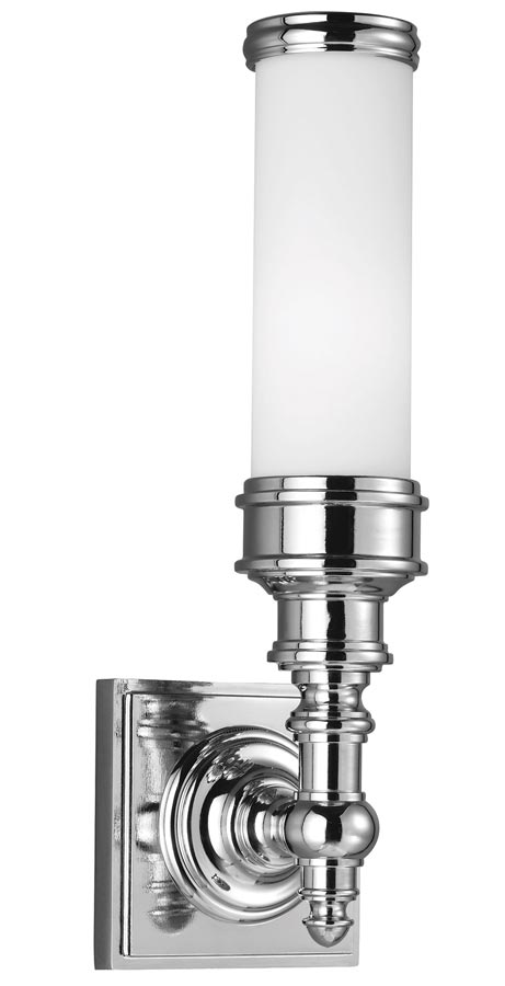 Feiss Payne 1 LED Bathroom Vanity Light Polished Chrome Opal Glass