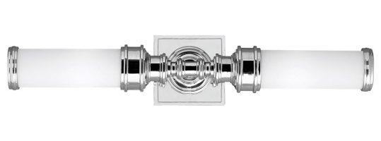 Feiss Payne 2 LED Bathroom Vanity Light Polished Chrome Opal Glass