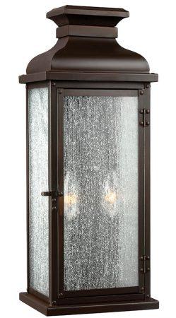 Feiss Pediment Medium Outdoor Wall Lantern Dark Aged Copper Seeded Glass