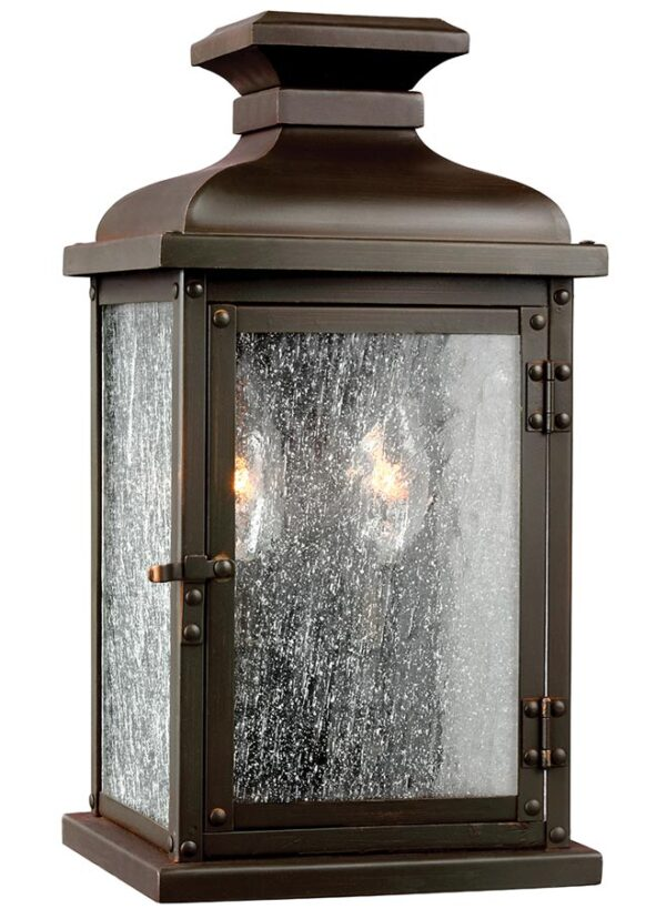 Feiss Pediment Small Outdoor Wall Lantern Dark Aged Copper Seeded Glass