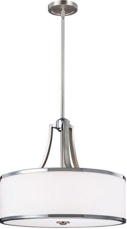 Feiss Prospect Park 4 Light Ceiling Pendant Satin Nickel Opal Glass