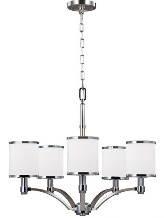 Feiss Prospect Park 5 Light Chandelier Satin Nickel Chrome Opal Glass