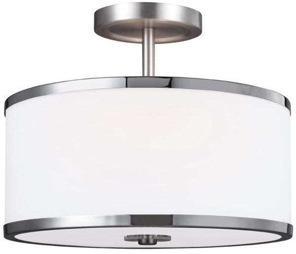 Feiss Prospect Park 2 Light Dual Mount Ceiling Light Satin Nickel Opal Glass
