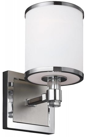 Feiss Prospect Park 1 Light Wall Light Satin Nickel Opal Glass