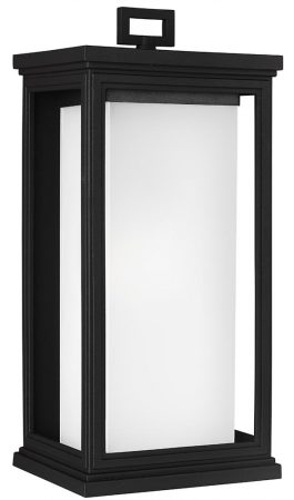 Feiss Roscoe Large Outdoor Wall Lantern Textured Black With Opal Glass