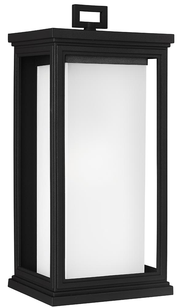 Feiss Roscoe Large Outdoor Wall Lantern Textured Black Opal Glass