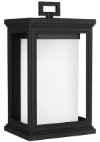 Feiss Roscoe Medium Outdoor Wall Lantern Textured Black With Opal Glass
