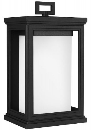 Feiss Roscoe Medium Outdoor Wall Lantern Textured Black Opal Glass