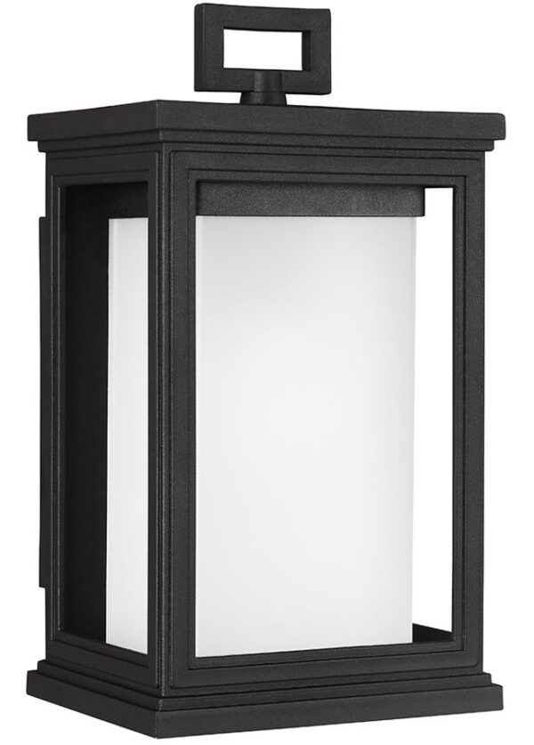 Feiss Roscoe Small Outdoor Wall Lantern Textured Black Opal Glass