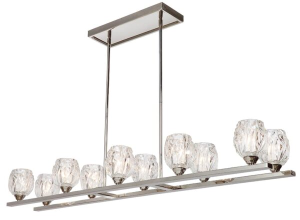 Feiss Rubin 10 Light Island Chandelier Polished Nickel Glass Shades