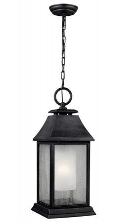 Feiss Shepherd Large Hanging Outdoor Porch Lantern Dark Weathered Zinc