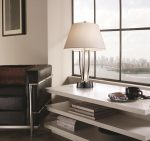 Feiss Silvershore 1 Light Table Lamp Polished Nickel White Shade