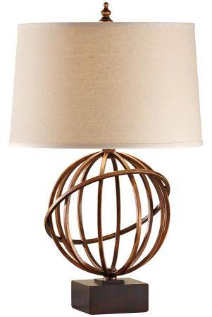 Feiss Spencer 1 Light Table Lamp Firenze Gold Dark Tan Shade