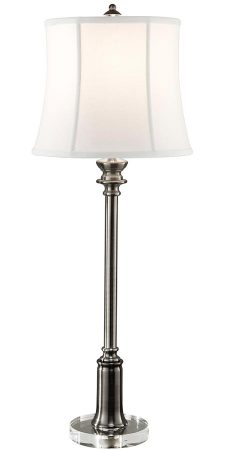 Feiss Stateroom 1 Light Buffet Table Lamp Antique Nickel White Shade