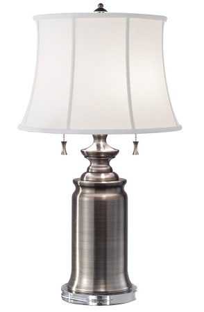 Feiss Stateroom 2 Light Table Lamp Antique Nickel White Shade