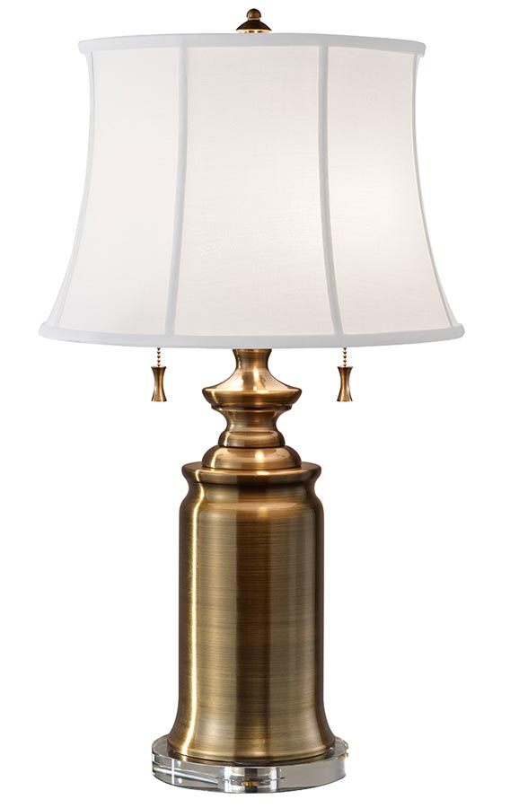 Feiss Stateroom 2 Light Table Lamp Bali Brass White Shade