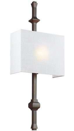 Feiss Teva 1 Lamp Wall Light Antique Bronze White Shantung Shade