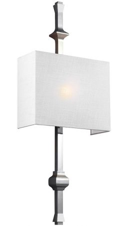 Feiss Teva 1 Lamp Wall Light Polished Nickel White Shantung Shade