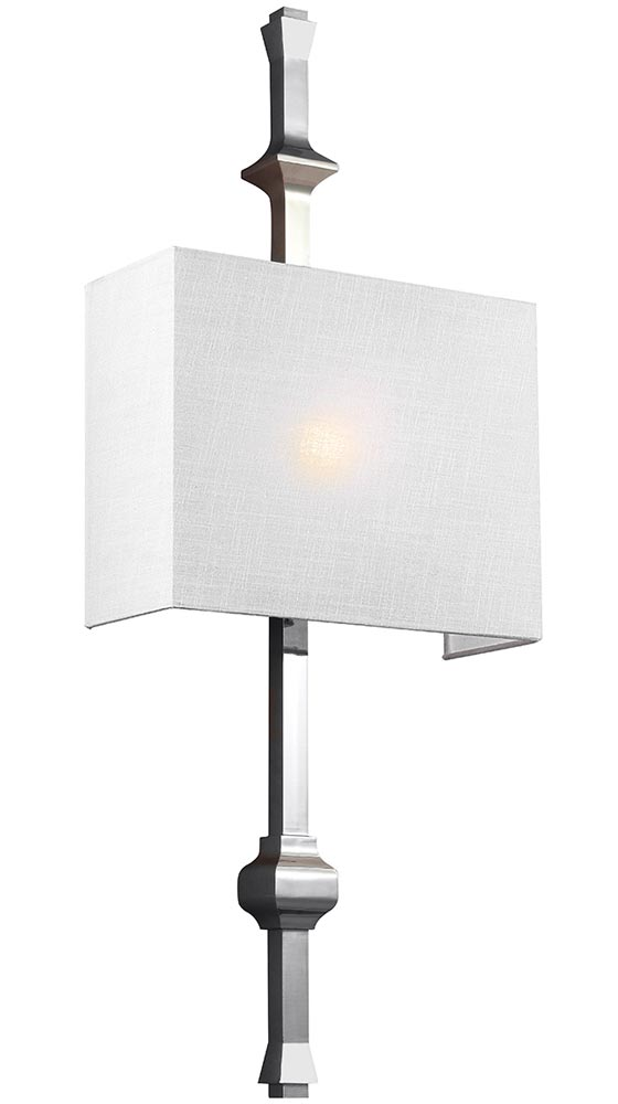 Feiss Teva 1 Lamp Wall Light Polished Nickel White Shantung Shade